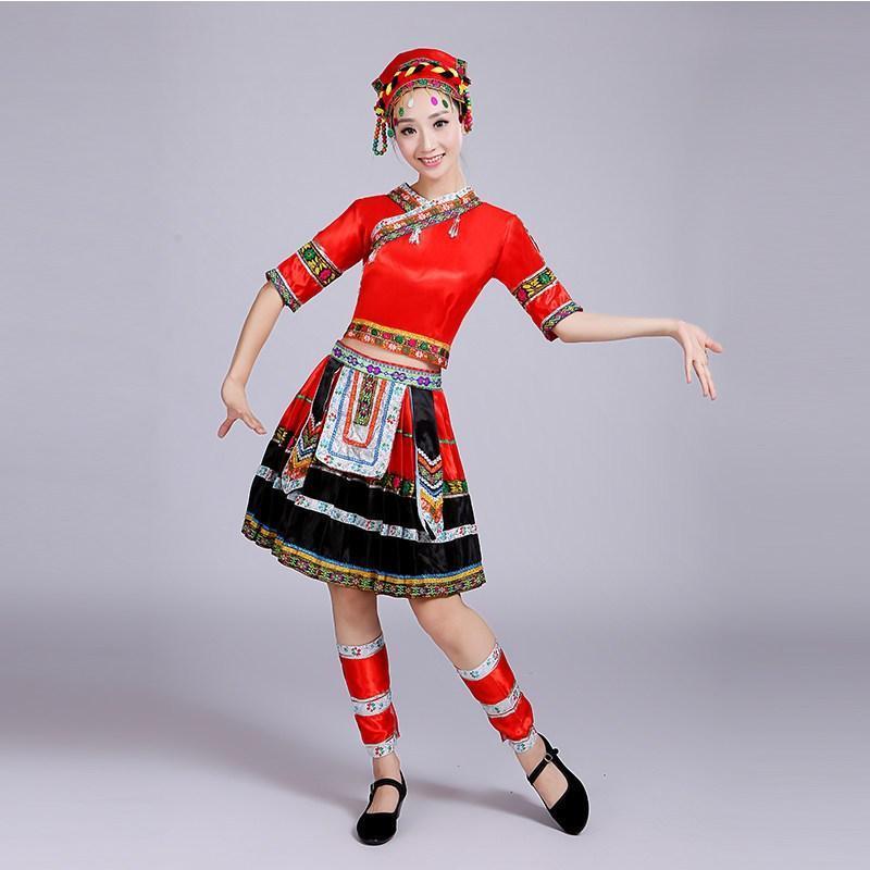 少数民族演出服现代成人云南土家族服饰苗族舞蹈服装短款表演服女