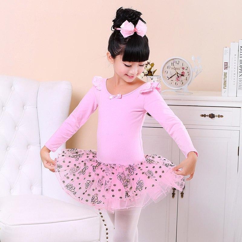 儿童舞蹈服女童春秋季演出服装芭蕾舞裙合唱服表演纯棉短袖练功服