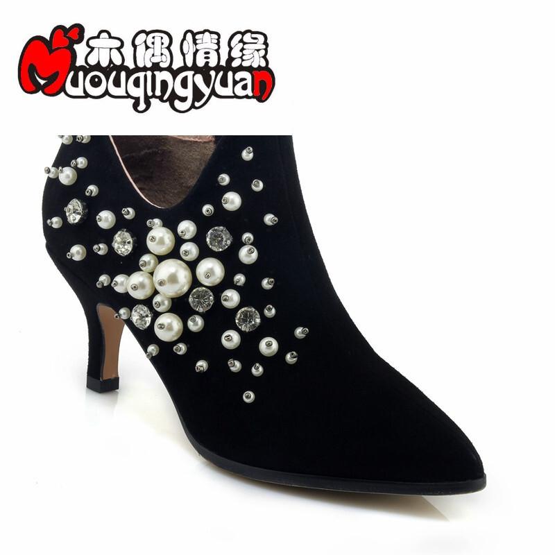 靴子潮流时尚休闲鞋尖头细跟高跟鞋花朵优雅上班鞋工短靴子冬天黑色7