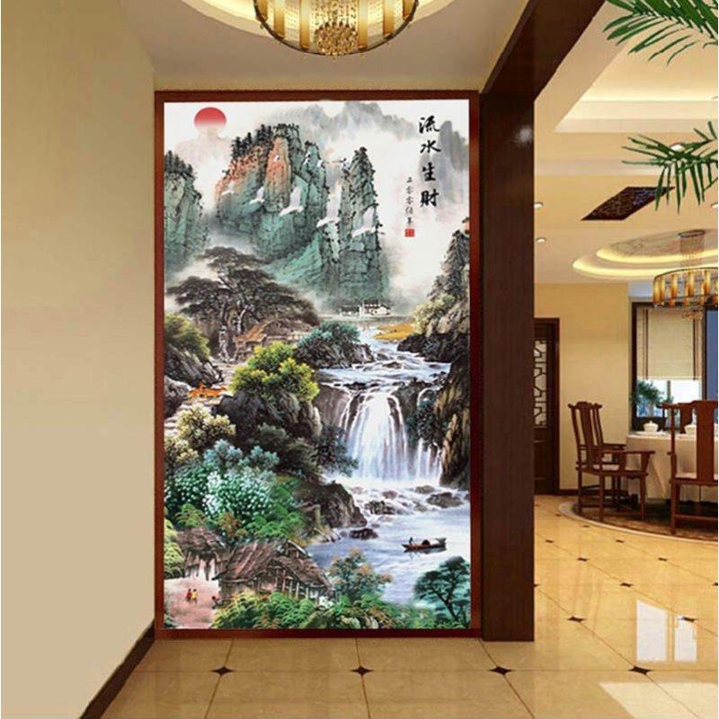 印花十字绣客厅新款流水生财山水画风景十字绣竖版玄关大幅图案 图案