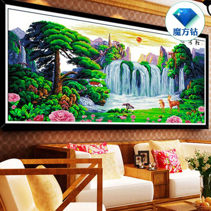 新款5d鉆石畫滿鉆客廳迎客松福祿風景大幅點鉆十字繡貼鉆畫山水畫