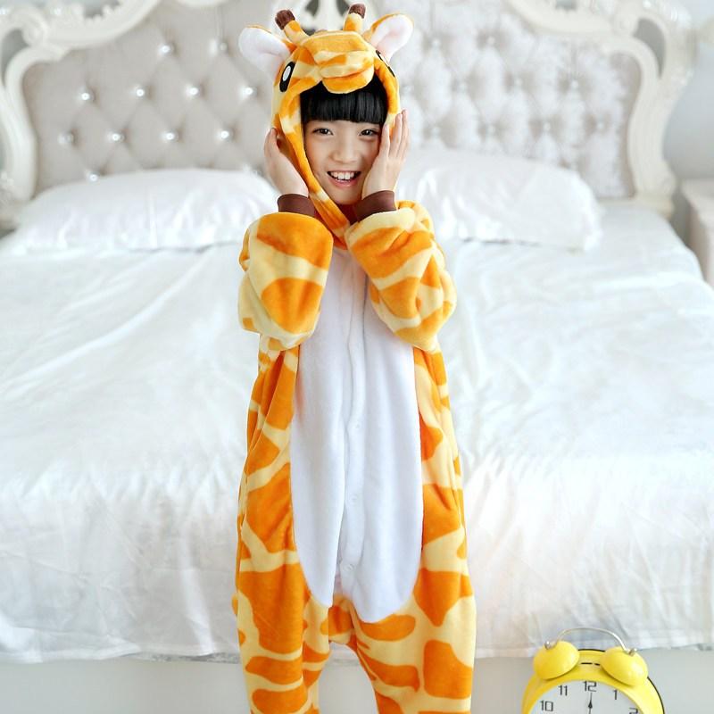 秋冬季款儿童法兰绒连体睡衣猫咪男女孩可爱卡通动物家居服