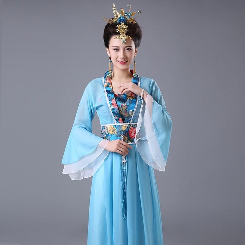 七仙女古装舞台演出服仙女服装唐装汉服女古代贵妃古筝女装雪纺裙