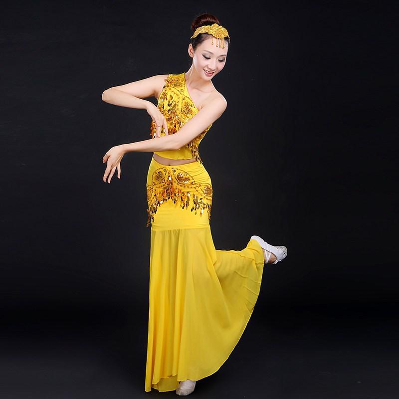 2016新款傣族舞蹈服装孔雀舞伴舞表演服少数民族舞台装演出服女