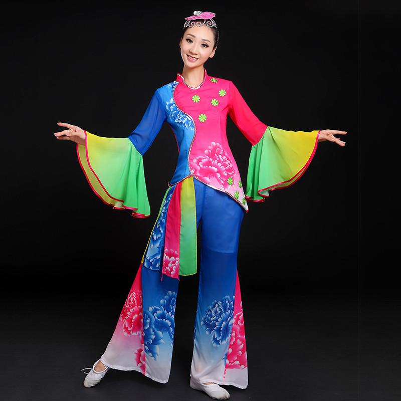 新款秧歌服扇子舞民族舞蹈服演出服装古典舞服中老年广场舞腰鼓服