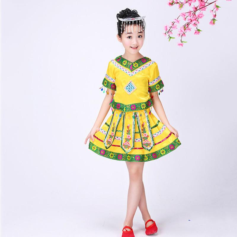 新款儿童苗族表演服服装女童傣族瑶族民族舞蹈舞台葫芦丝演出服