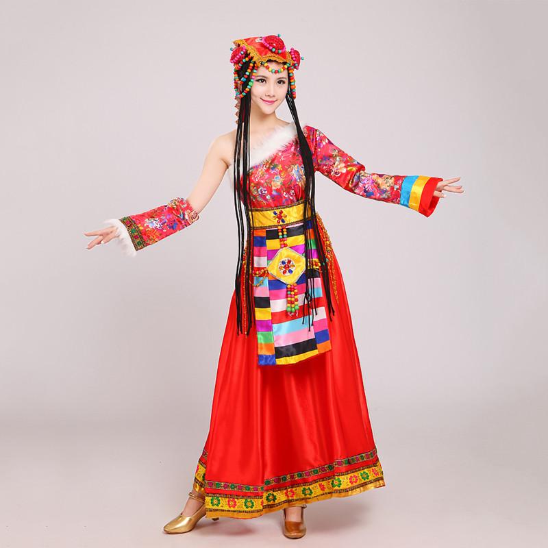 藏族舞蹈演出服饰女藏族舞蹈表演服装心声藏族服饰水袖藏族服
