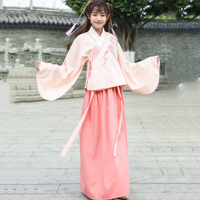 古装服装女改良传统汉服女套装公主仙女袄裙学生襦裙广袖中国风春