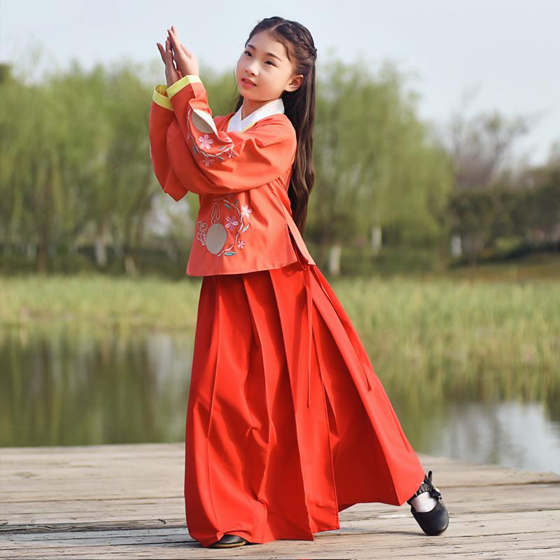 女儿童汉服曲裾古装上袄裙交领襦裙写真表演出国学服