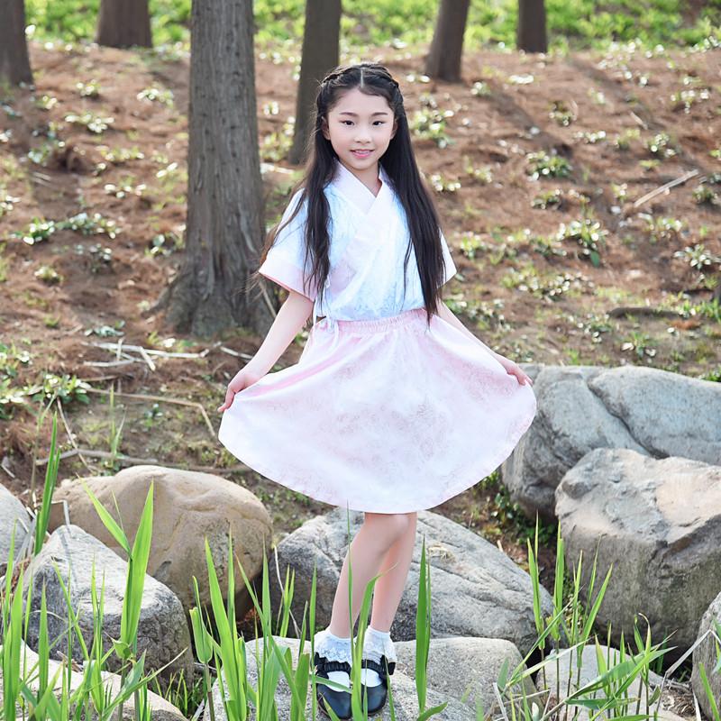 六一古装小女孩儿书童幼儿宝宝短打袖国学汉服民族舞蹈表舞台演出