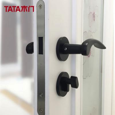 TATA木门 五金静音锁具 室内木门磁吸太空铝材质黑色 标配锁#004J