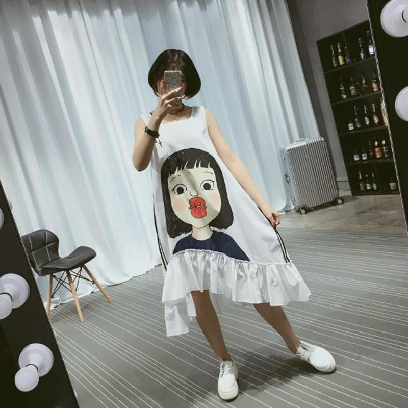 韩雪青青2016夏装时尚圆领无袖可爱嘟嘴女孩印花图案连衣裙1794