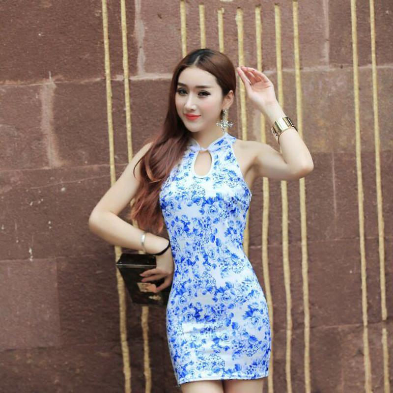 韩雪青青2016新款时尚花纹低胸性感连衣裙收腰紧身夜店连衣裙