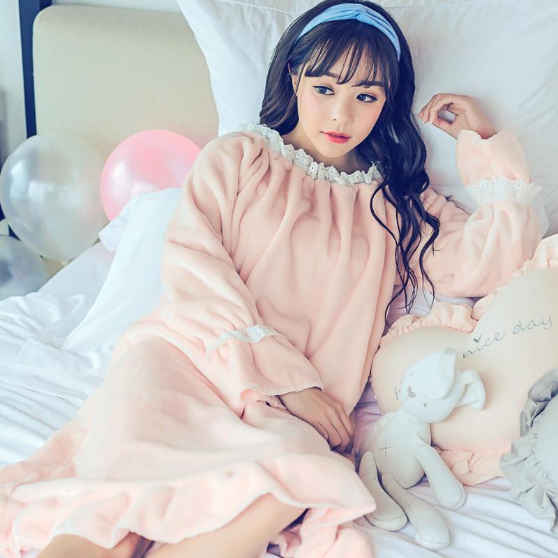 韩雪青青2017新款冬季可爱公主宫廷睡裙韩版睡衣复古少女甜美秋季珊瑚