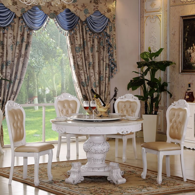 克洛蒙蒂 欧式餐桌 欧式大理石圆餐台 法式实木餐桌椅