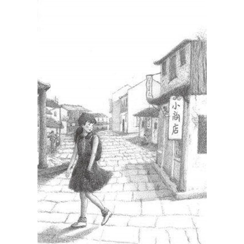 现代田野风景素描画