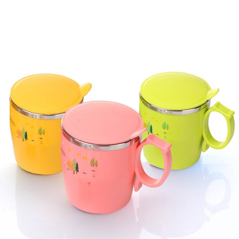 儿童不锈钢水杯幼儿园带盖手柄喝水杯子宝宝卡通防摔防烫保温口杯