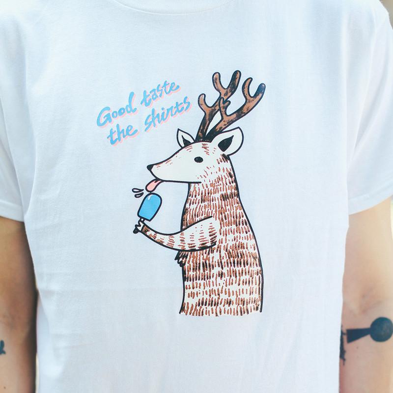 raasta 新款卡通趣味动物鹿图案印花情侣装男女班服短袖t恤衫