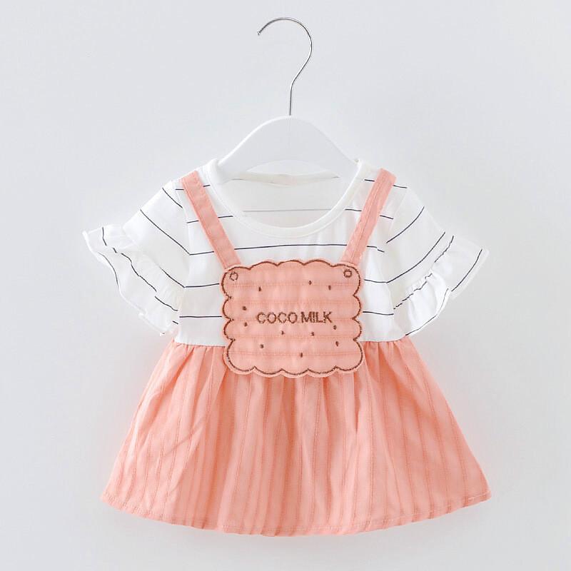 女童连衣裙夏装2017棉条纹喇叭袖裙子中小童可爱公主裙39t