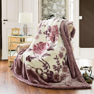 素风家纺 双层加厚保暖拉舍尔毛毯 单人毯冬季拉舍尔毯子 婚庆用毯双人盖毯