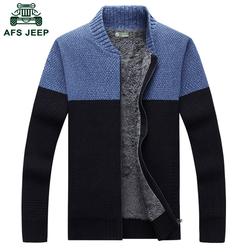 战地吉圃 针织衫男装加绒加厚外套立领宽松毛衣开衫秋冬韩版外穿毛线