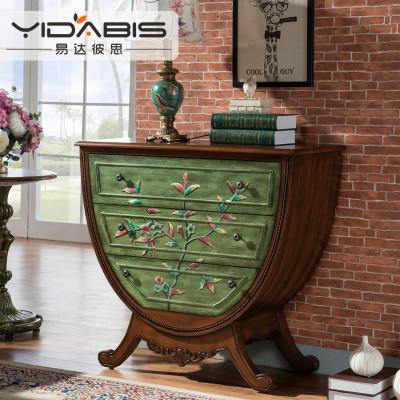 易达彼思美式乡村彩绘家具储物三斗柜玄关台实木玄关柜玄关桌欧式田园