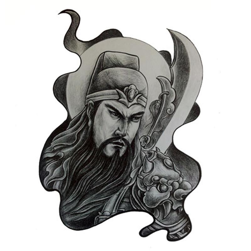 纹身贴纸防水男黑色关公纹身贴拿刀关羽纹身