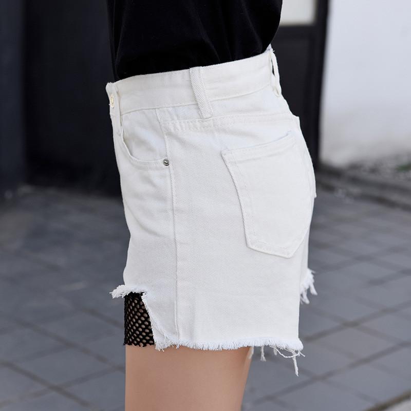 330#实拍2017年夏新款破洞网格拼接显瘦高腰牛仔短裤女白色潮
