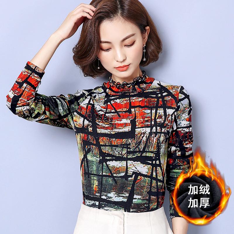 加绒加厚打底衫女长袖2017冬季新款韩版印花