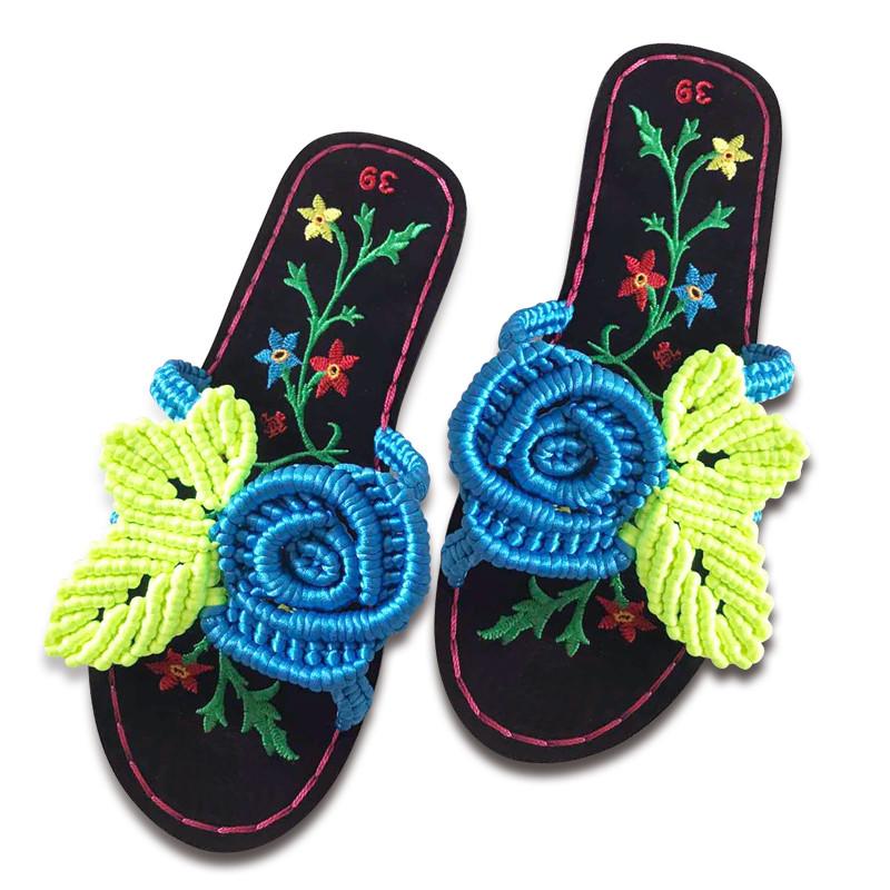 傲蒙 手工编织拖鞋 中国结5号线 舒适养脚 结实耐穿 孺子牛贵妃绣花