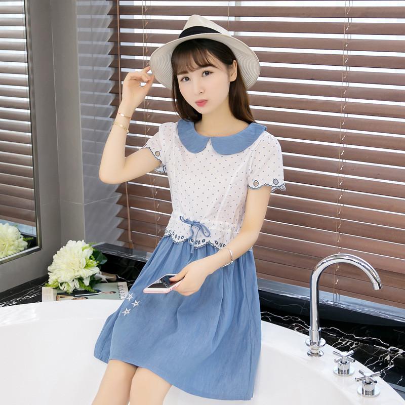 娇诗朵2017 新款少女连衣裙2016新款韩版学生小清新裙子夏装修身短袖