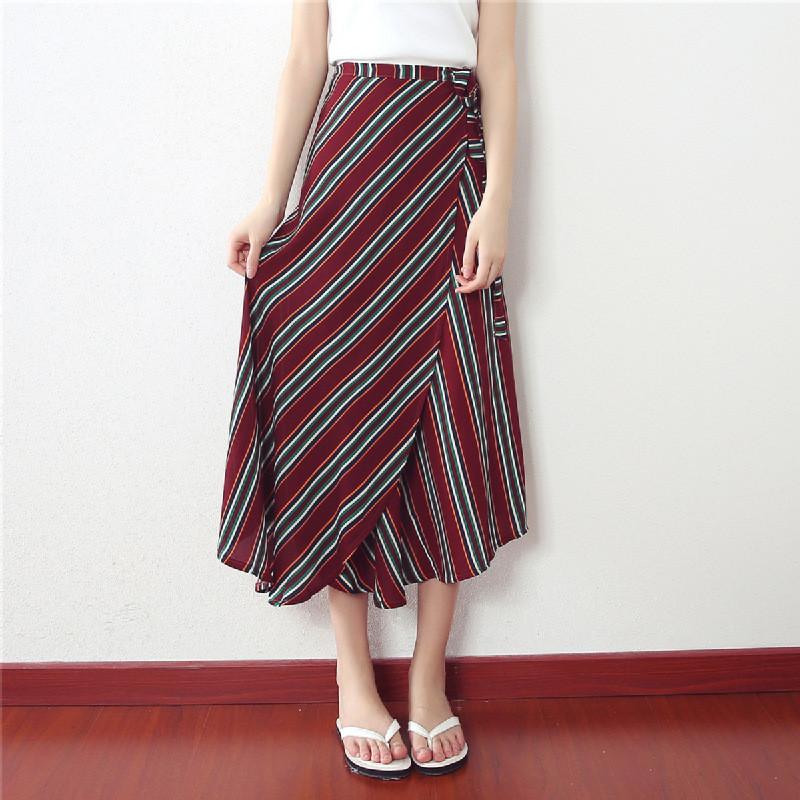娇诗朵夏新款一片式系带半身裙韩版高腰条纹雪纺长裙女夏沙滩裙