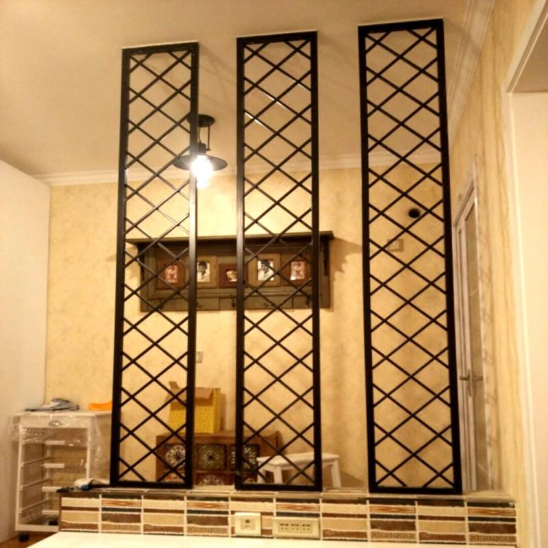 唐傲 厂家直销铁艺办公屏风/隔断窗花方形门饰欧式客厅玄关架花格定做