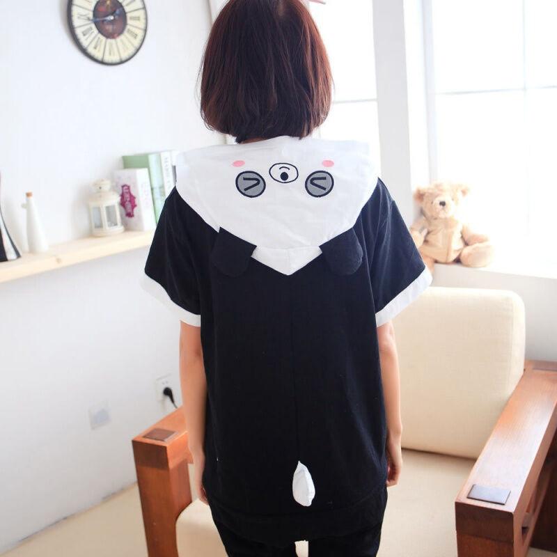 夏季卡通动物连体睡衣短袖男女纯棉可爱情侣睡衣熊猫家居如厕版服