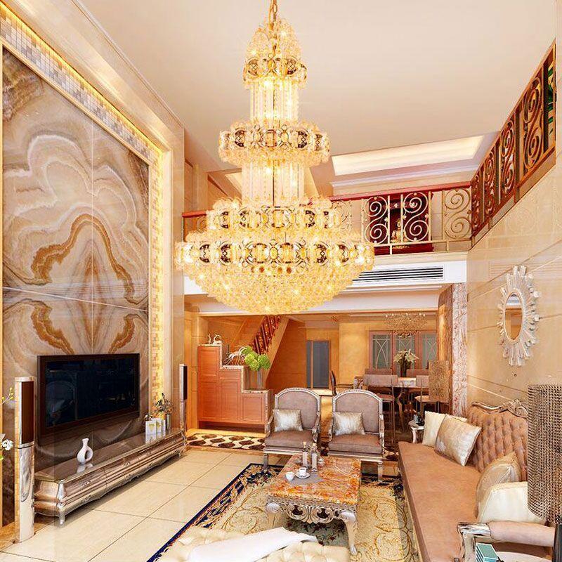 新奥泰佳金色复式楼客厅大吊灯楼中楼楼梯长吊灯酒店别墅中空工程灯图片