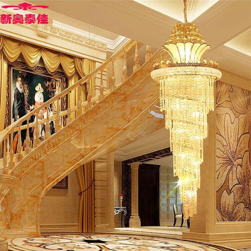 新奥泰佳欧式大气金色复式楼水晶吊灯别墅客厅楼梯间灯具旋转楼梯灯长
