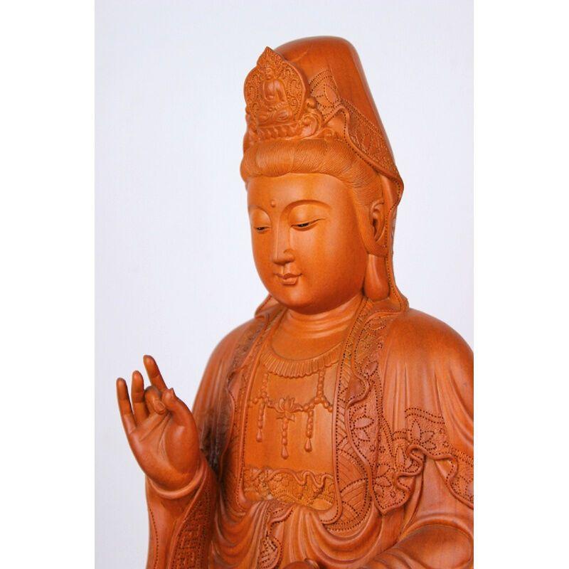 吟秀 木雕佛像观音菩萨 16寸木雕红豆杉观音 精雕浮雕