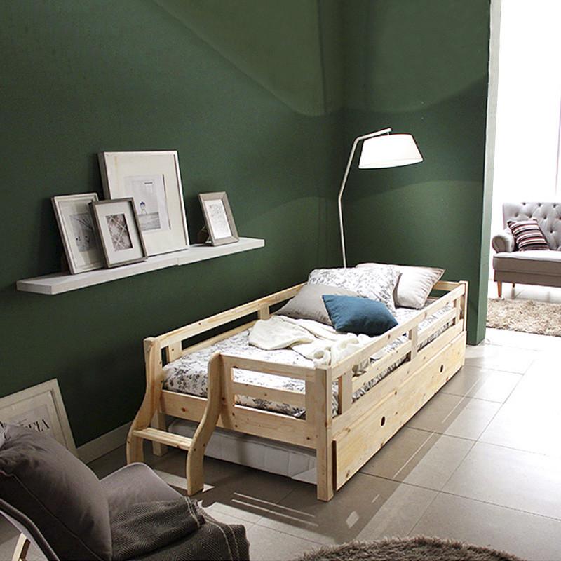 星曦菲 实木儿童床 护栏床 双层床 带拖床 带储物床 儿童家具 男孩床