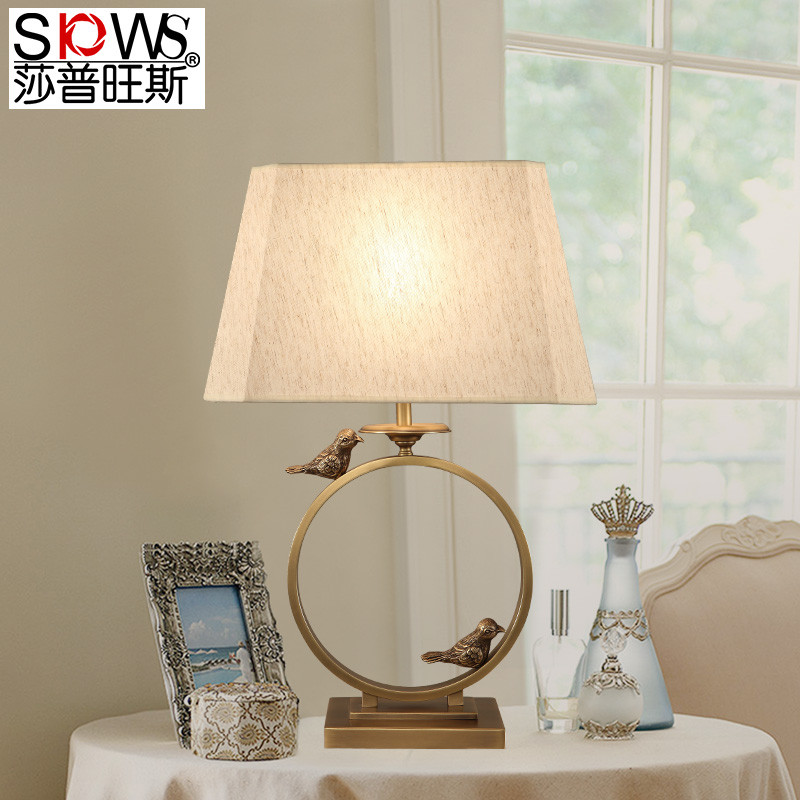 新中式全铜灯台灯现代简约床头柜灯具卧室温馨书房灯中式全铜台灯
