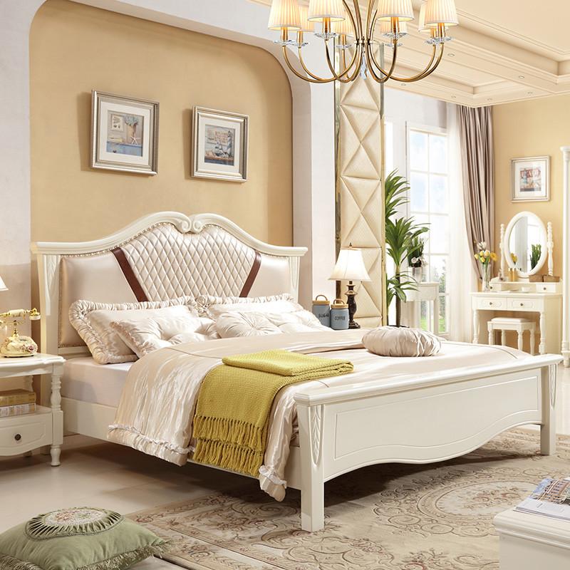 御品梓匠 简欧实木床 1.8米大床双人床婚床主卧床1.5米白色储物高箱床