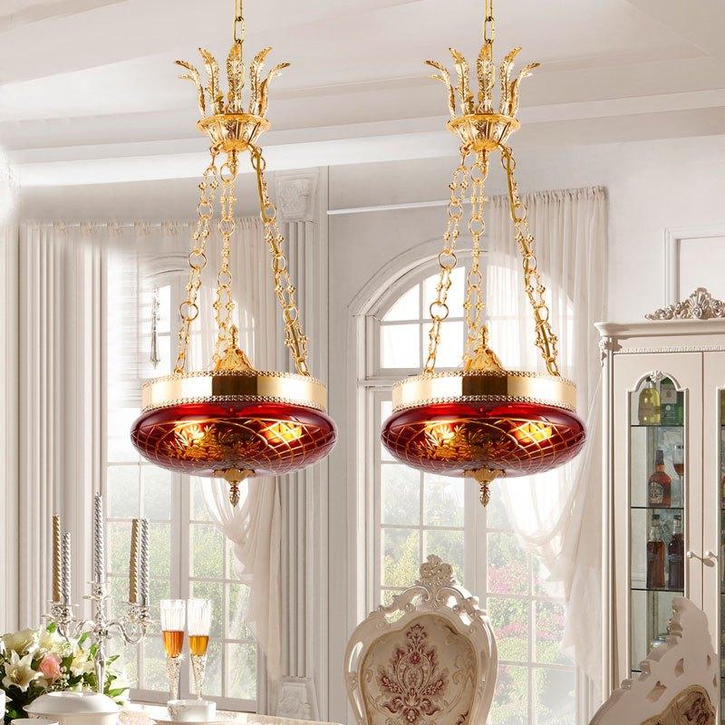 爱灯堡法式吊灯全铜餐厅卧室玄关合金复古欧式田园别墅过道led灯具
