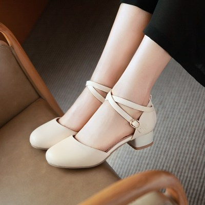 金狒狒新款韩版中空单鞋圆头时尚粗跟女鞋夏季一字扣带凉鞋