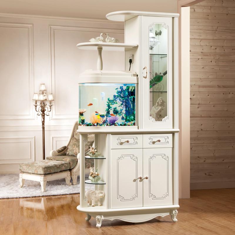 伊莱菲尔 欧式鱼缸玄关柜客厅隔断柜屏风门厅装饰柜鞋柜双面烤漆酒柜