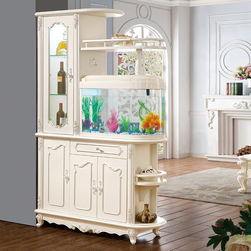 欧式玄关柜鱼缸柜隔断柜 客厅间厅柜隔厅柜带鱼缸酒柜法式屏风柜鞋柜
