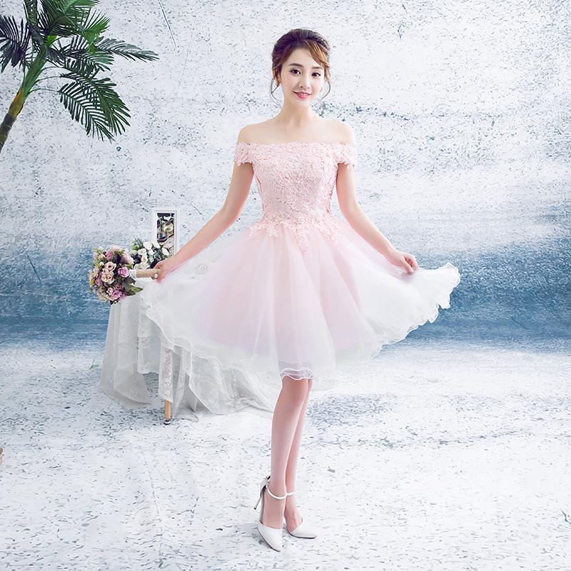 婚纱礼服女2016新款晚礼服短裙一字肩a字裙粉色蕾丝敬酒服伴娘礼服
