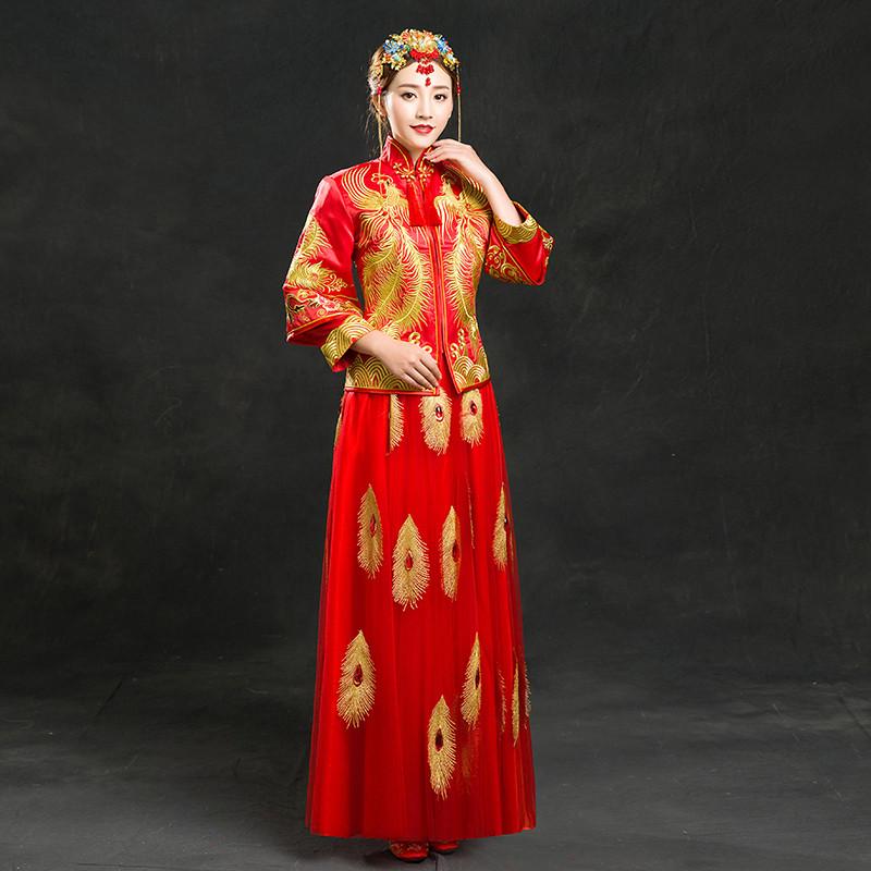 2016新款立领修身直襟龙凤褂新娘秀禾服中式婚礼服定制