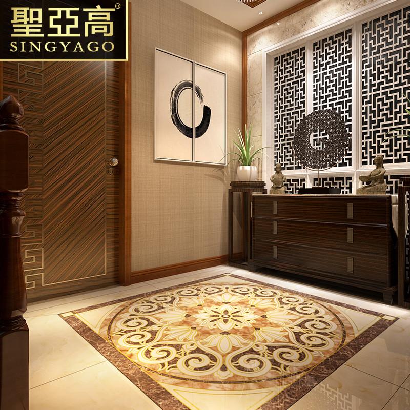 圣亚高瓷砖 客厅抛晶砖地砖欧式中式地毯抛金砖 玄关地心拼花拼图