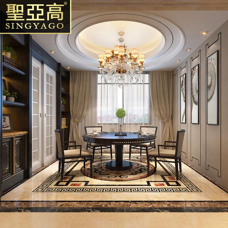 圣亚高瓷砖 客厅抛晶砖地砖欧式中式地毯抛金砖 玄关地心拼花拼图图片