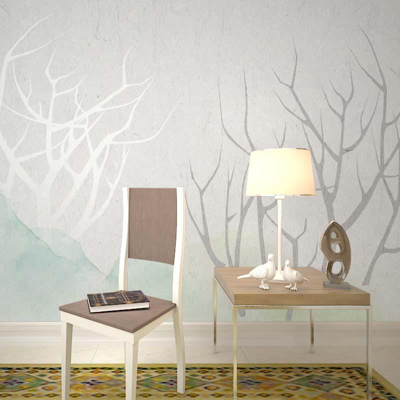 北欧风格现代简约手绘电视背景墙壁纸