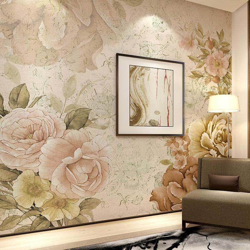 手绘电视背景墙壁纸 定制个性图案壁画